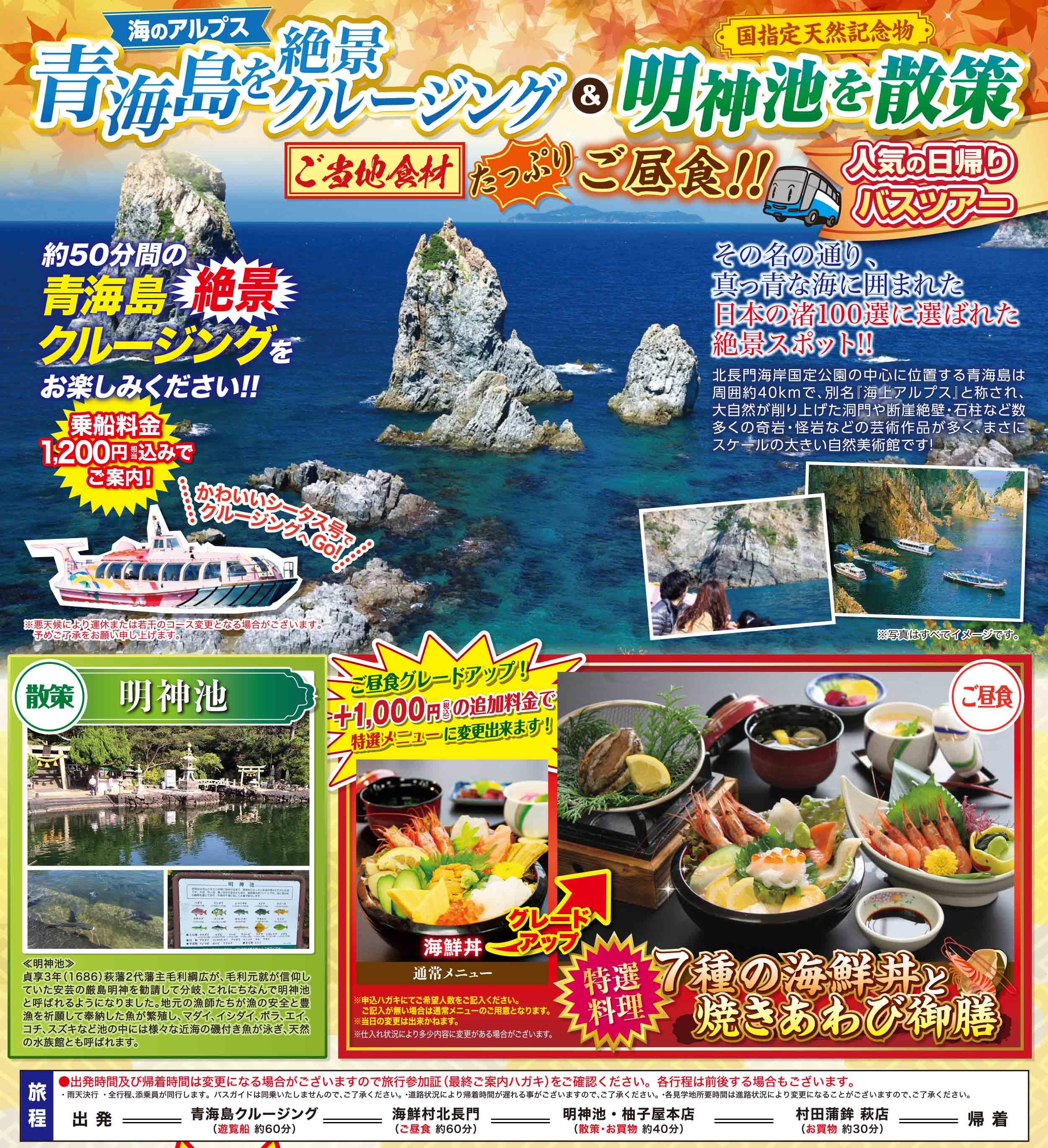 青海島を絶景クルージング&明神池を散策!ツアー募集中(広島県内出発・日帰り)